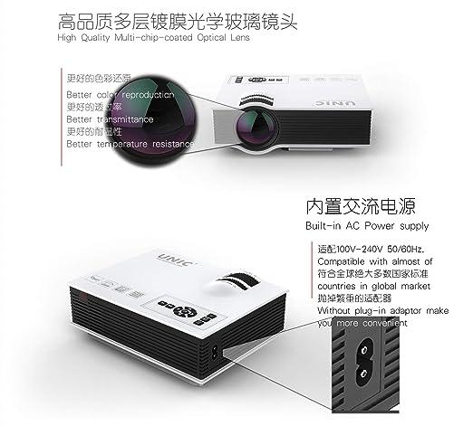 YAMEIJIA UC40 Oficina en casa HD Mini proyector Micro portátil ...
