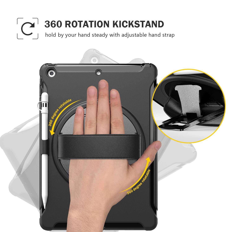 Nero Rugged Custodia Robusto Antiurto A2198 Cover Protettiva con Cinturino a Mano e Kickstand Rotante per iPad 10.2 7th Gen ProCase Custodia iPad 10.2 Pollici 7a generazione 2019 A2197 A2200