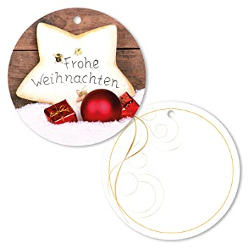 Frohe Weihnachten Anhänger.25er Pack Geschenkanhänger Frohe Weihnachten Stern Rund Ca ø 95 Mm Anhänger Weihnachtsanhänger Geschenkkarte Geschenkkärtchen