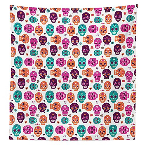 [Day Of The Dead Decor Tablecloth Dia de Los Muertos Skull Masks with Floral Style Design Print Dining Room Kitchen Rectangular Table Cover Purple Orange] (Monster High Dia De Los Muertos)