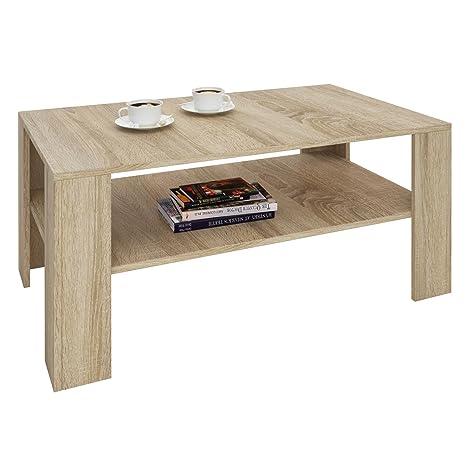 CARO-Möbel Couchtisch Wohnzimmertisch ANIMO in Sonoma Eiche mit Ablage, 100  x 60 cm