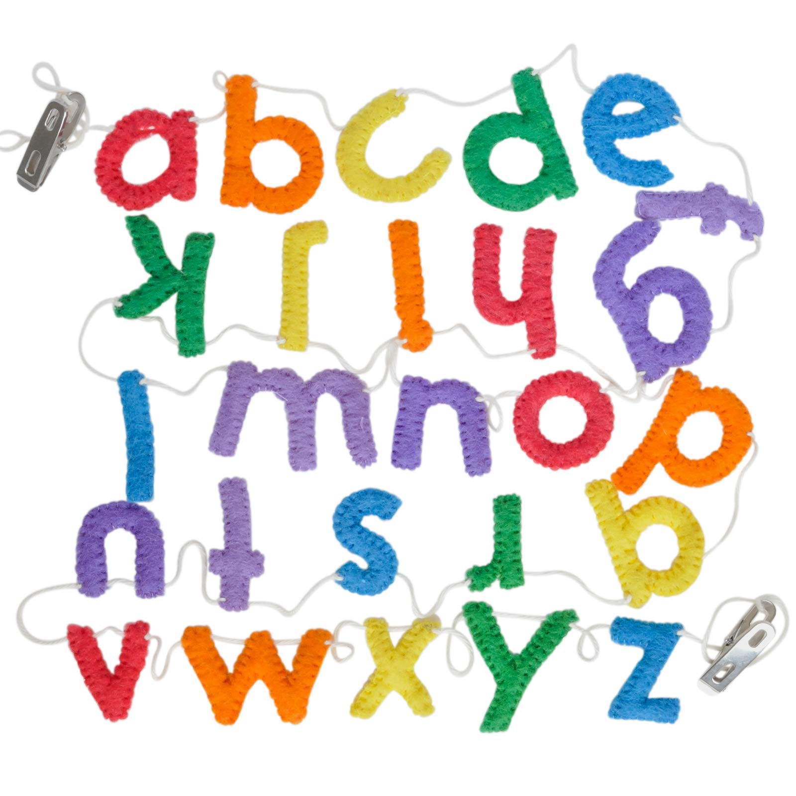 Handmade Wool Felt Alphabet Garland, Lower Case Letters, Rainbow Colors, Educational Decor for Toddlers Learning Letters and Colors, Great for School Room Decorations, or Play Room Decor (Lower case)