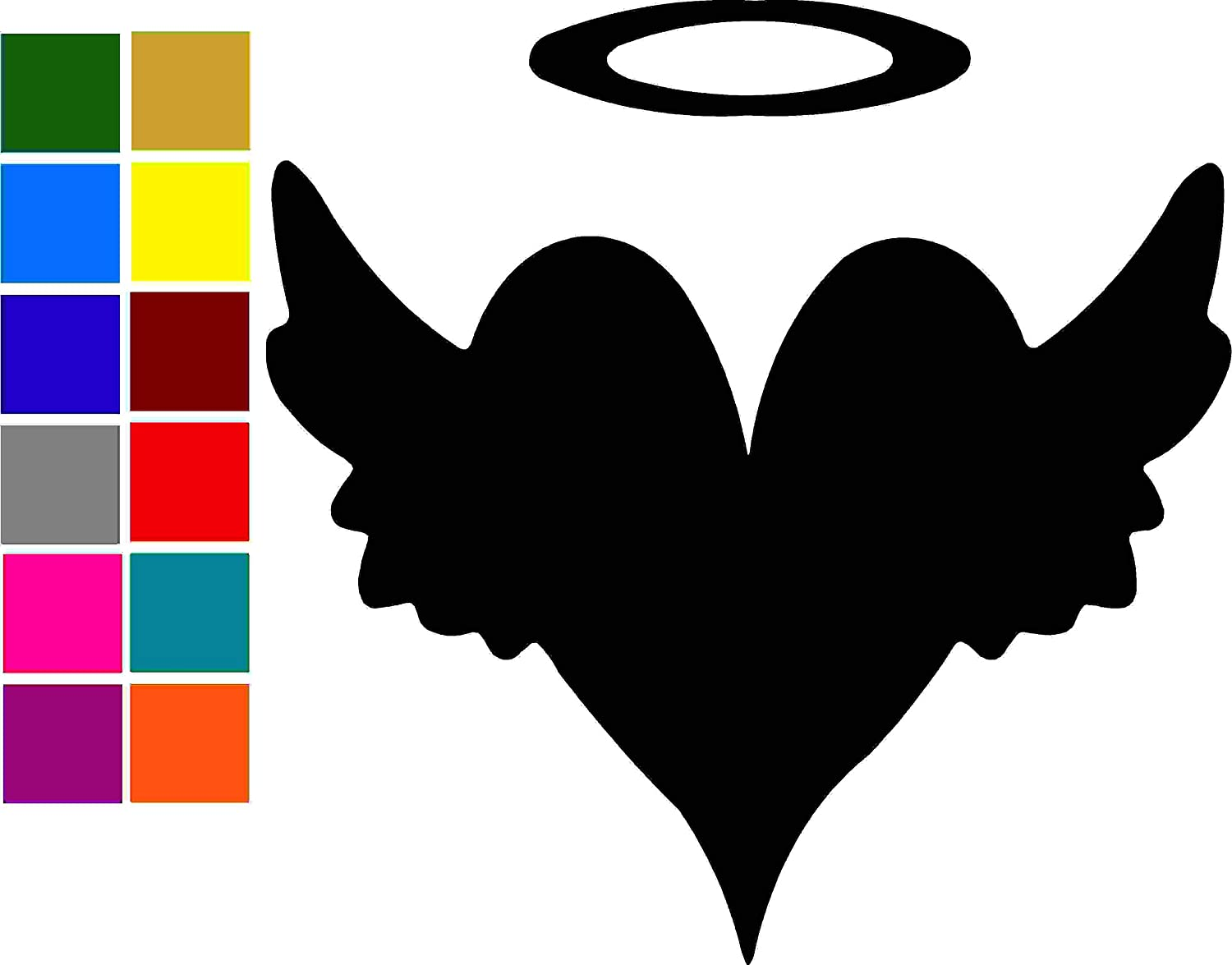 Heart Wing Halo Car Window Tumblers Wall Decal Sticker Vinyl Laptops Cellphones Phones Tablets Ipads Helmets Motorcycles Computer Towers V /& T Gifts