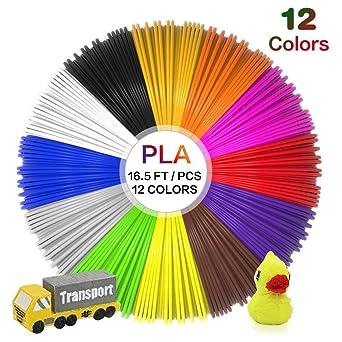 JAMIEWIN 12 colores 3D Pen Filamento, 1.75 mm 3d impresora PLA ...