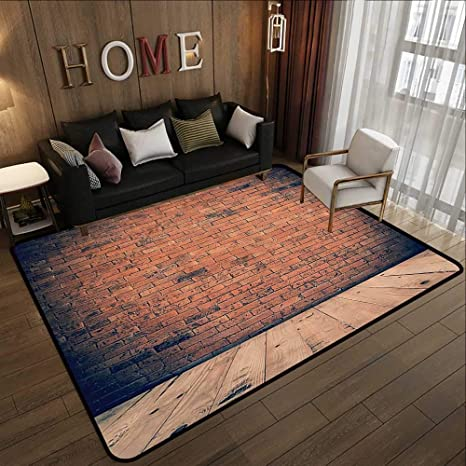 Amazon Com Printed Carpet Vintage Decor Collection Old Fashioned Bricks In Dark Room With Antique Wood Floor Vintage Ancient Retro Room Decor Red 35 X 59 Kitchen Mat For Living Room Kitchen Dining