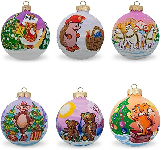 Bestpysanky Reindeer Winter Village And Christmas Trees Glass Ball Ornaments 2 5 Inches Home Kitchen Kolenik Seasonal Décor