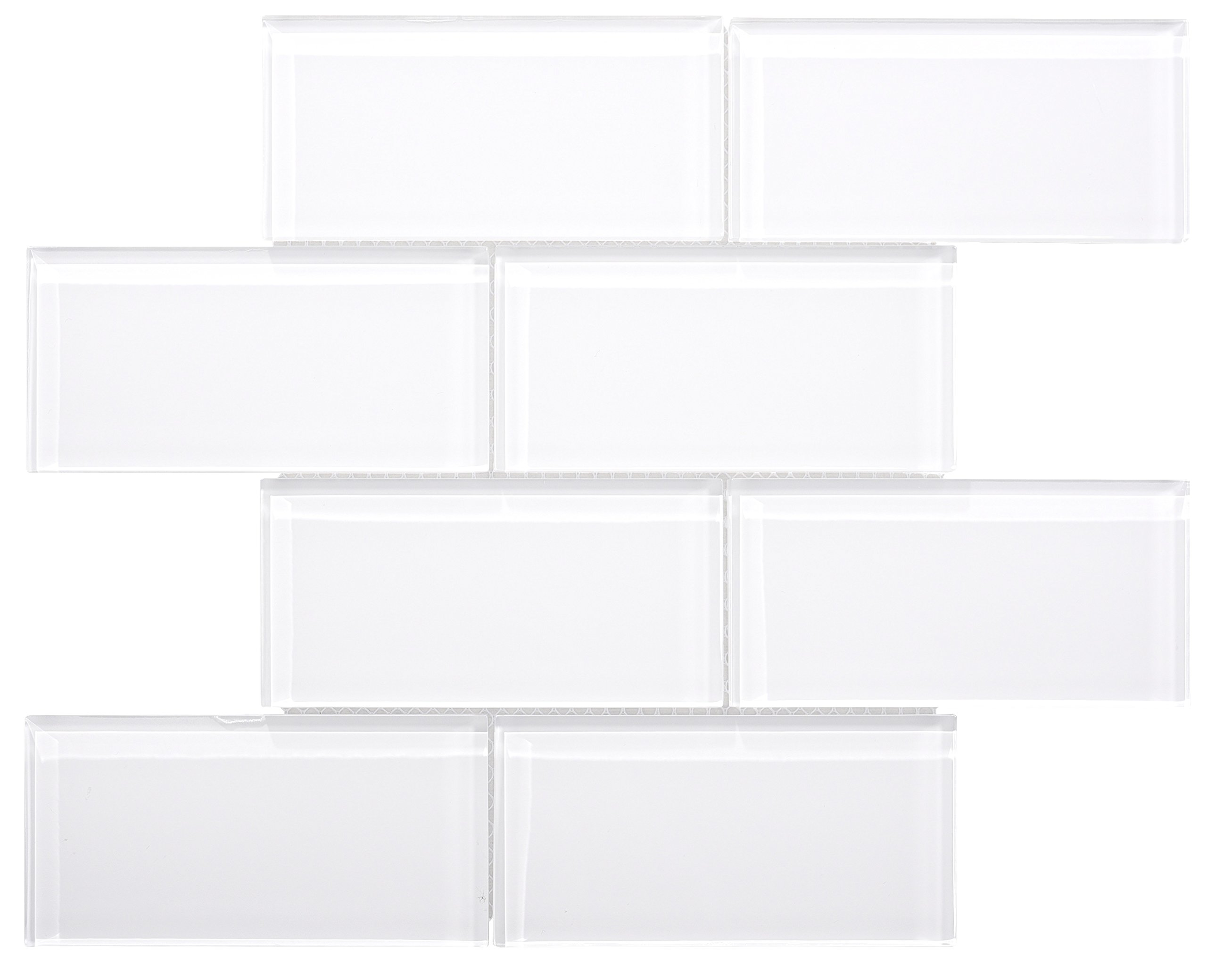 Glass Subway Backsplash Tile Kolors Series in White for Kitchen and Bathroom by WS Tiles - WST-01C - 40 Tiles (3'' x 6'' Mosaic 5 SqFt, Super White)