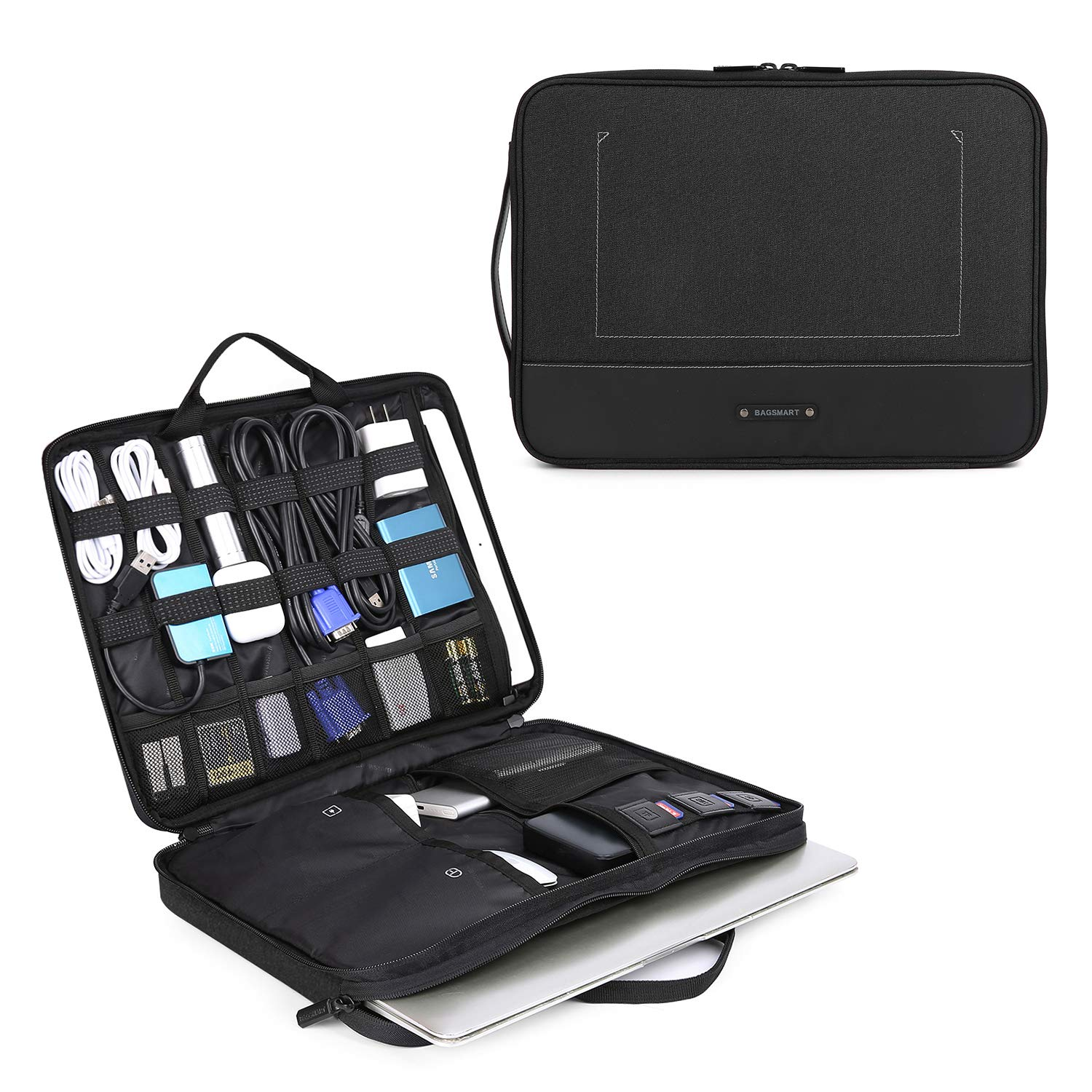 BAGSMART Travel Organizer Electronics Laptop Accessories Bag with 15 inch MacBook Pro Compartment, for Cable, Adapter, Hard Drives, 12.9 inch iPad Pro, Black
