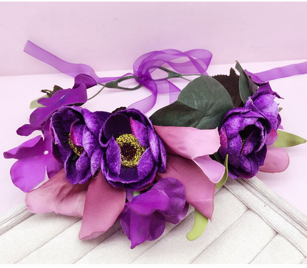 Wreath Flower, Headband Flower Garland Handmade Wedding Bride Party Ribbon Headband Wristband Hairband (Color : A) by Wreath