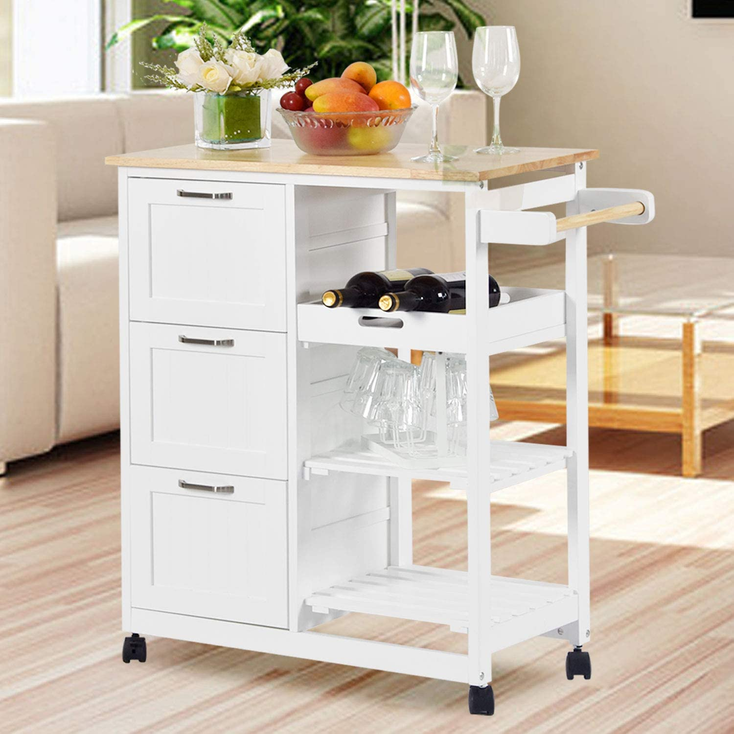 NSdirect Kitchen Island Cart,Industrial Kitchen Bar&Serving Cart Rolling Utility Storage Cart with 3-Tier Wine Rack Shelves&Three Storage Drawers,Soild Rubber Wood Top