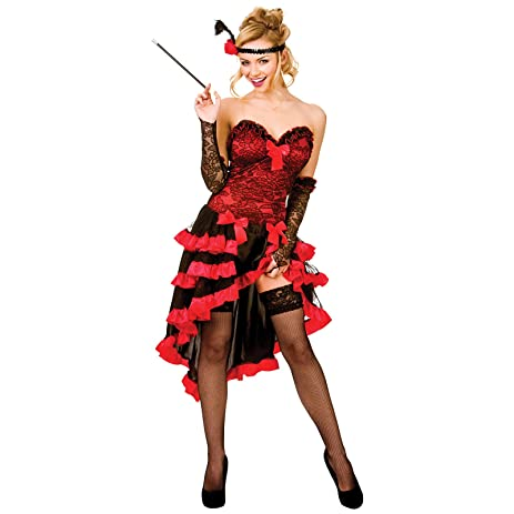 Can Can Saloon Girl Red Moulin Rouge Wild West Burlesque Costume XS to XXL