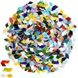 1000 Pieces Mixed Color Mosaic Tiles Mosaic Glass Pieces for Home Decoration or DIY Crafts, Square (Rhombus,1.1 by 1.1…