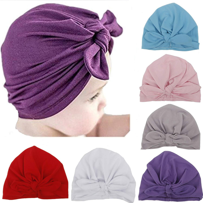 844d6d10b59 Ademoo Newborn Girls Nursery Beanie Rabbit Ears Hospital Hat (Rabbit Ears 6  Colors)