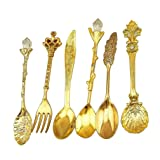 Verdental Retro Stereoscopic Coffee Spoon Tea Spoon Dessert Spoon Mixing Spoon Ice Cream Spoons with Fruit Fork Set of 6