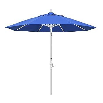 Delightful California Umbrella 9u0027 Round Aluminum Market Umbrella, Crank Lift, Collar  Tilt, White