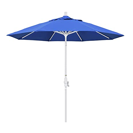 California Umbrella 9u0027 Round Aluminum Market Umbrella, Crank Lift, Collar  Tilt, White
