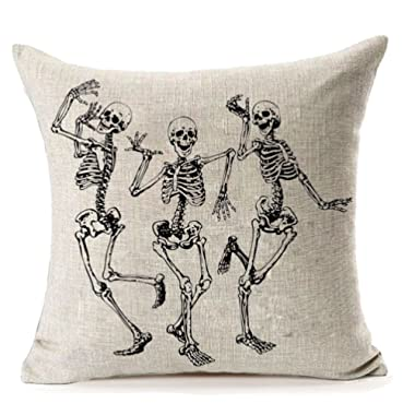 Halloween Skull Pillow Covers,MFGNEH Home Decor Cotton Linen Sofa Throw Pillow Case Cushion Cover 18  x 18