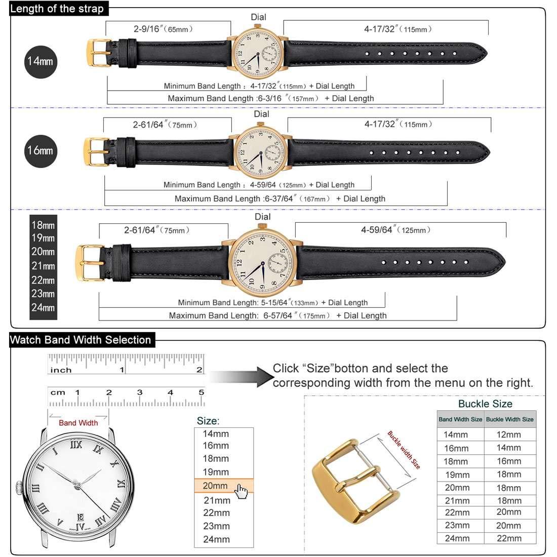 WOCCI 20mm Correa de Reloj Vintage de Cuero para Mujer Hombre ...