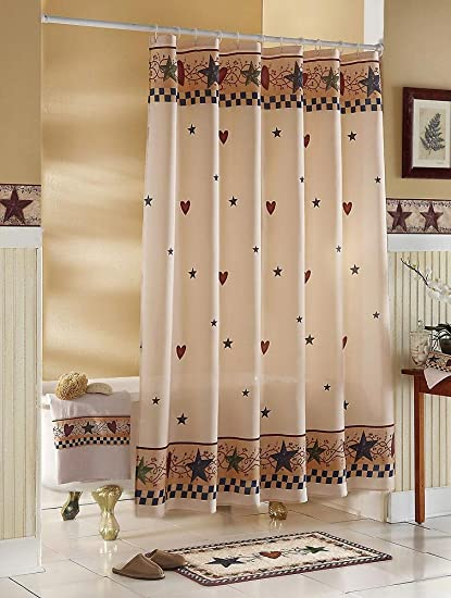 Amazon.com: Country Primitive Stars & Hearts Shower Curtain By ...