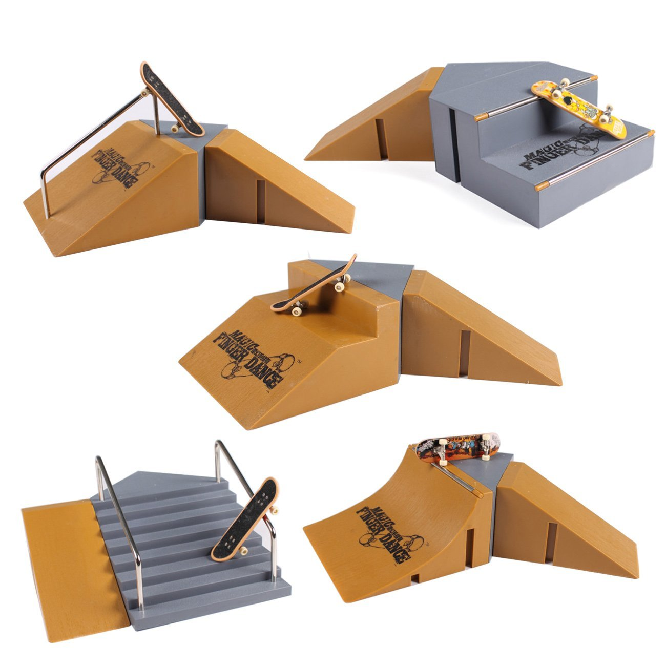 Fanci Finger Skateboard Ramps Park Set for Tech Deck Finger Board HB95-6 Super Large Package include 5 Boxes