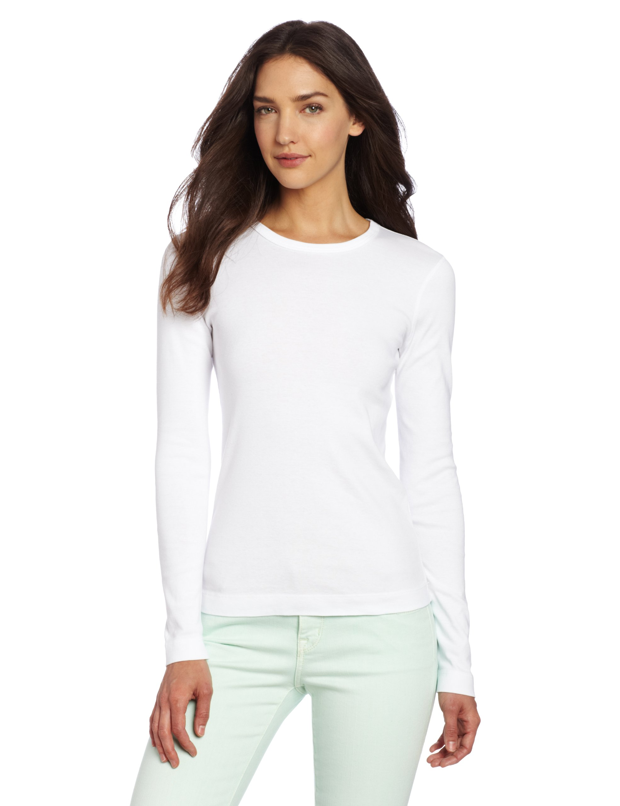 Three Dots Women's Long Sleeve Crewneck Tee,White,X-Large