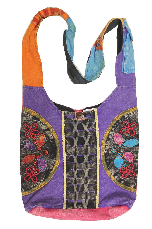 DharmaObjects Lungta Imports Twist Tie Hippie Hobo Sling Cross body Purple Bag Nepal