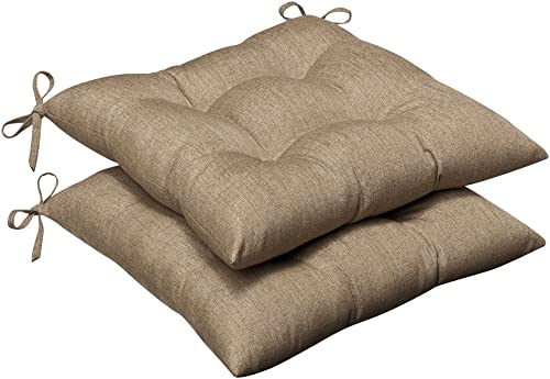 Pillow Perfect Indoor Outdoor Wrought Iron Seat Cushion Set of 2 with Sunbrella Linen Sesame Fabric, 19 in. L X 18.5 in. W X 5 in. D,Tan