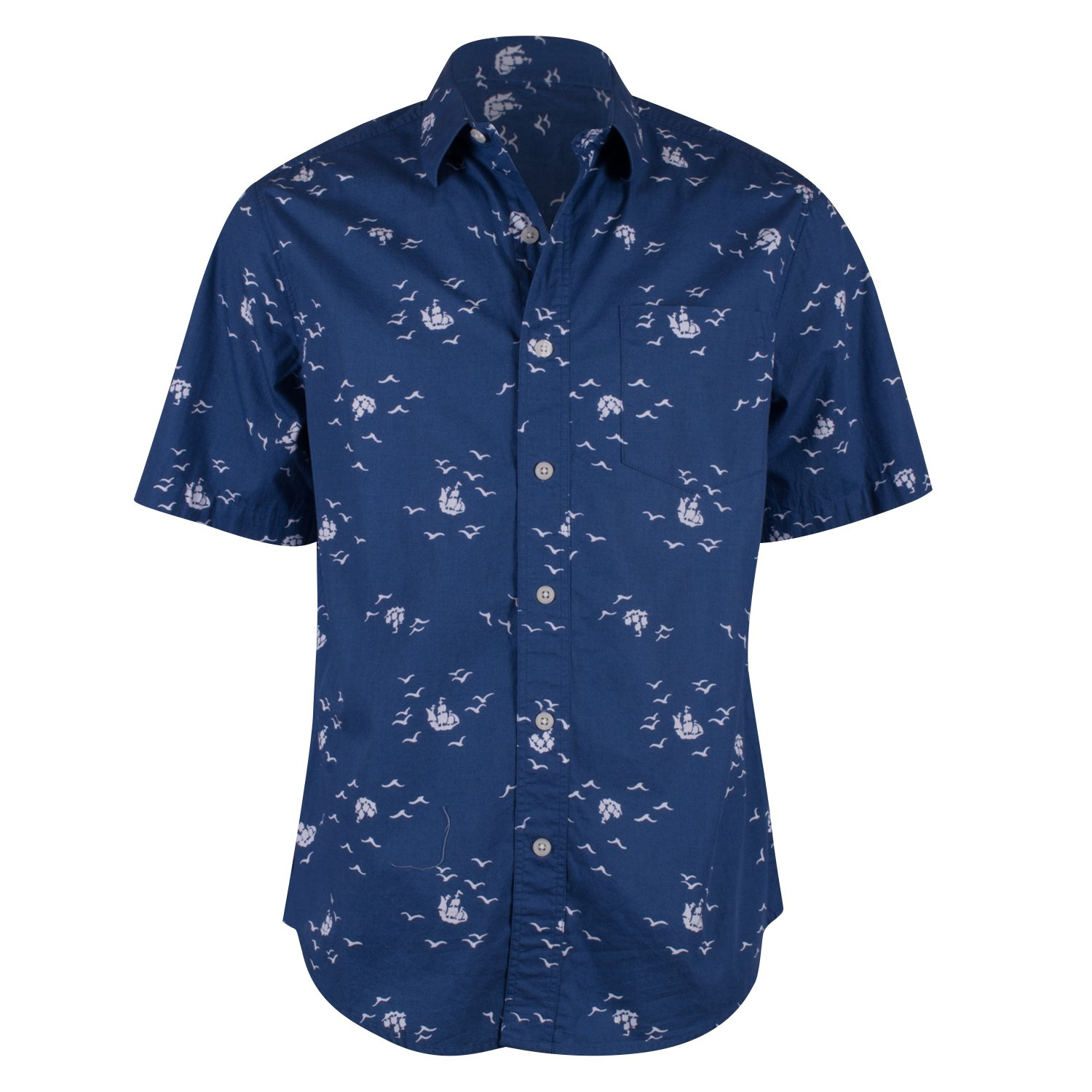 cca83d70457a Campia Moda Men s Washed Cotton Modern Fit Print Shirt (Navy Abstract Bird  and Ship Print