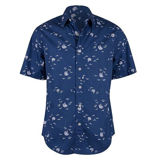 fe3408365cc1 Campia Moda Men's Washed Cotton Modern Fit Print Shirt (Navy Abstract Bird  and Ship Print