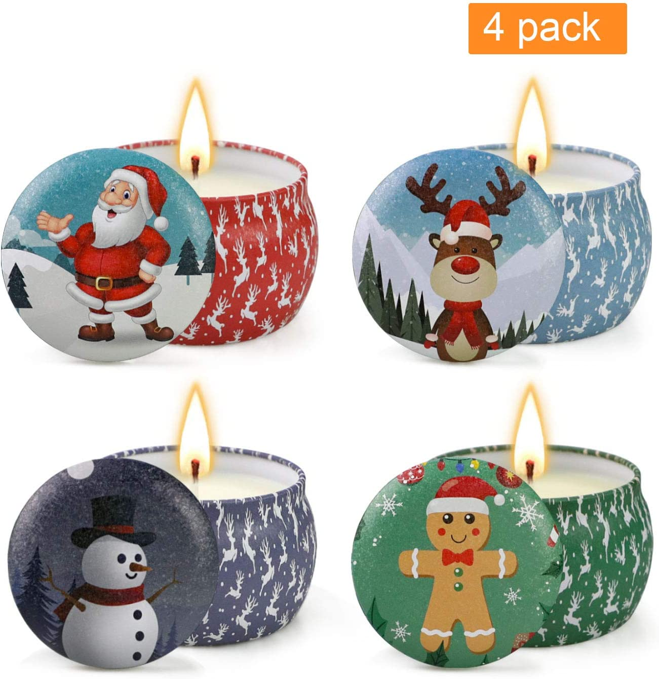 YMing Christmas Scented Candles Gift Sets of 4  Natural Soy Wax Aromatherapy Candles  Portable Travel Tin Candle Gift for Family or Friends