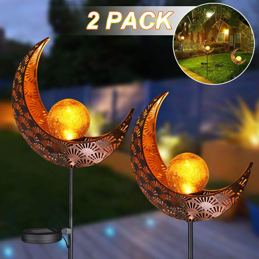 Solar Garden Lights, LVJING 2 Pack Outdoor Pathway Decorative Solar Moon Garden Stake Lights, Solar Landscape Lights with Crackle Glass Globe, Warm White for Yard, Lawn Wedding Party Decor Light