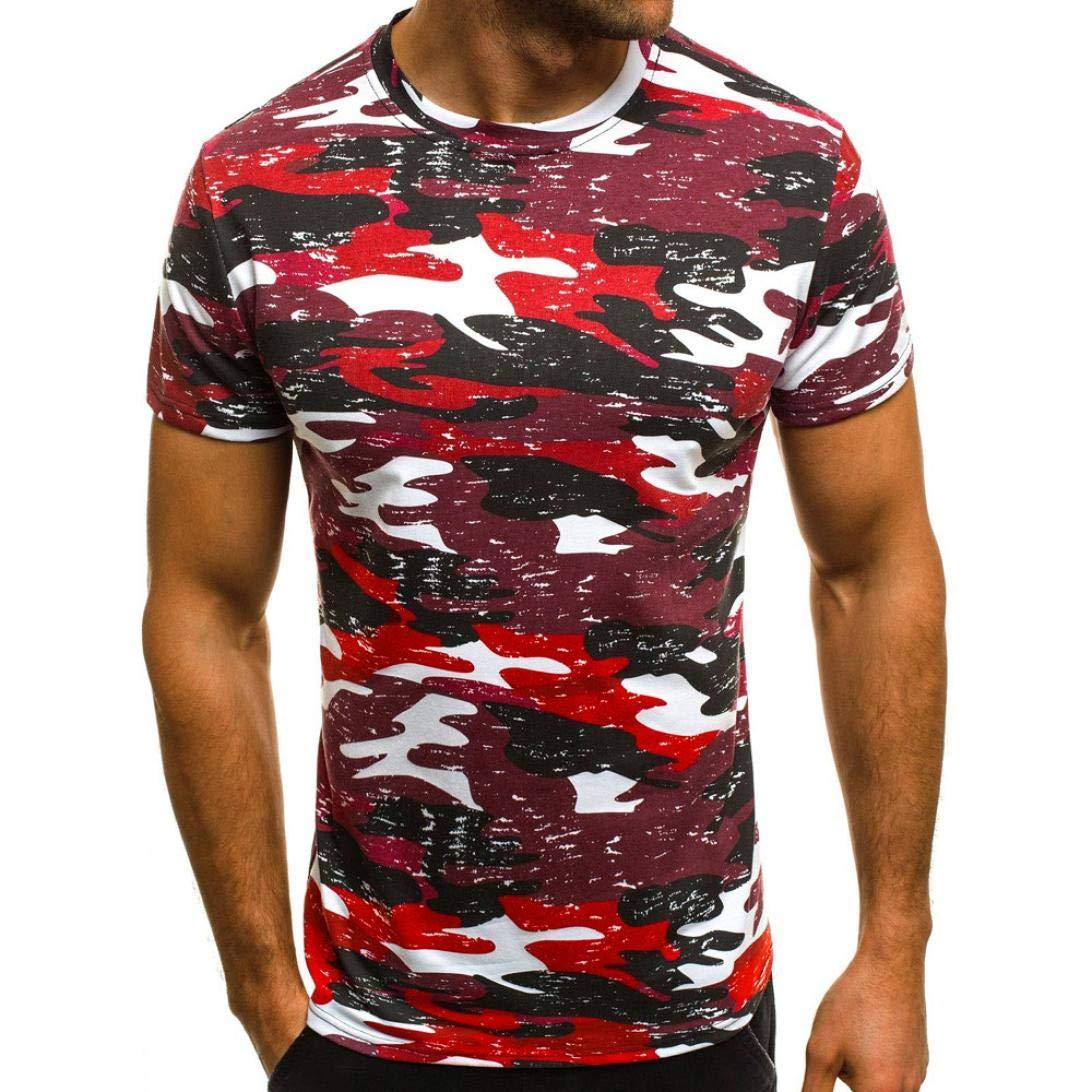 Hommes Camouflage Tees Chemise T-Shirt à Manches Courtes Décontracté Chemisier T-Shirt Slim Casual Fit Covermason