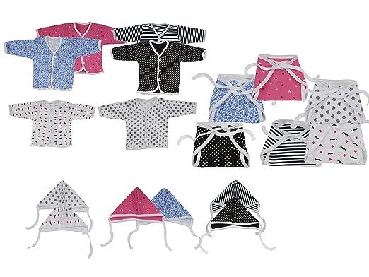 Dreambaby Baby Cotton Jhabla Set (Multicolour, 0-6 Months)