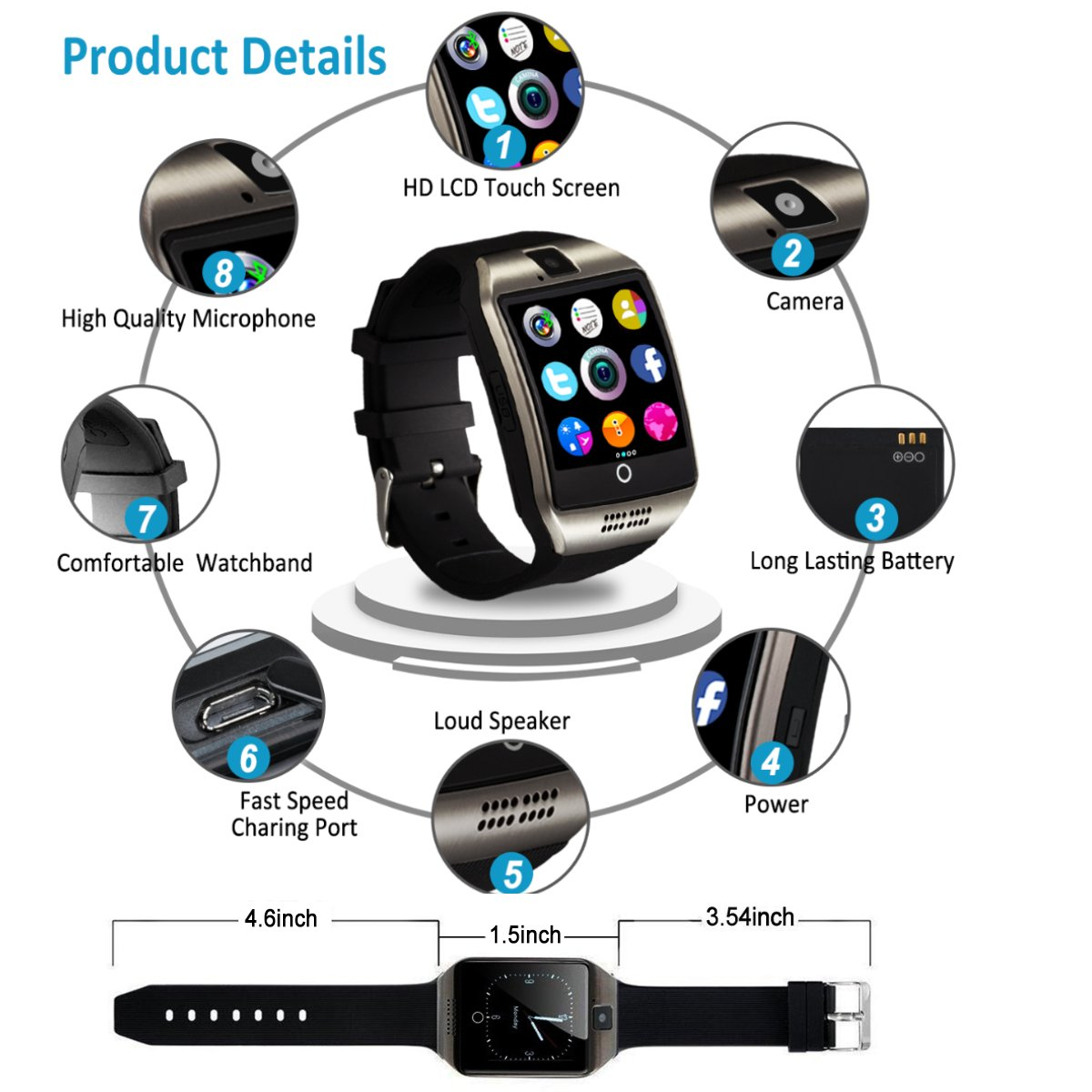 Bluetooth Smart Watch Touchscreen with Camera,Unlocked Watch Cell Phone with Sim Card Slot,Smart Wrist Watch,Waterproof Smartwatch Phone for Android Samsung IOS Iphone 7 6S Men Women Kids by Luckymore (Image #6)