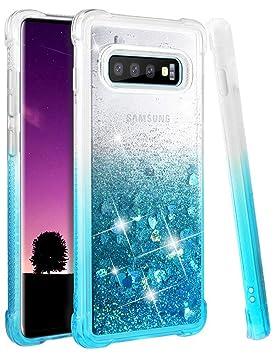 wlooo Funda para Samsung Galaxy S10 Plus, Fundas Samsung S10 Plus, Glitter liquida Gradiente Cristal Silicona Bling Protector TPU Bumper Case ...