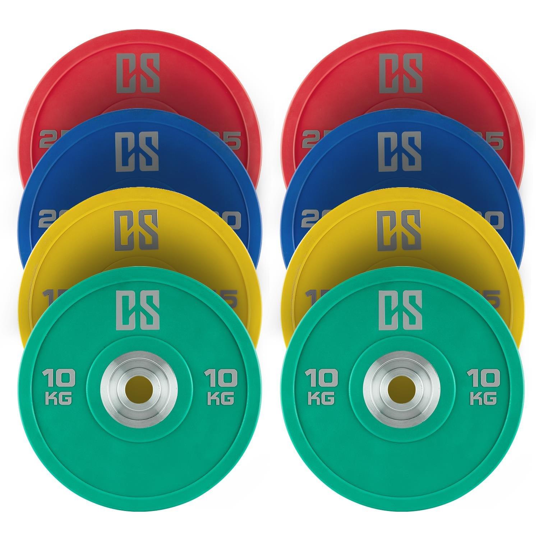 CAPITAL SPORTS Performan Urethane • Gewichtsscheiben • Langhantelscheiben • Hantelscheiben • 5 Paar á 10 oder 15 oder 20 kg oder Set • geeignet für Cross- & Olympic-Bars • farbliche Gewichtscodierung