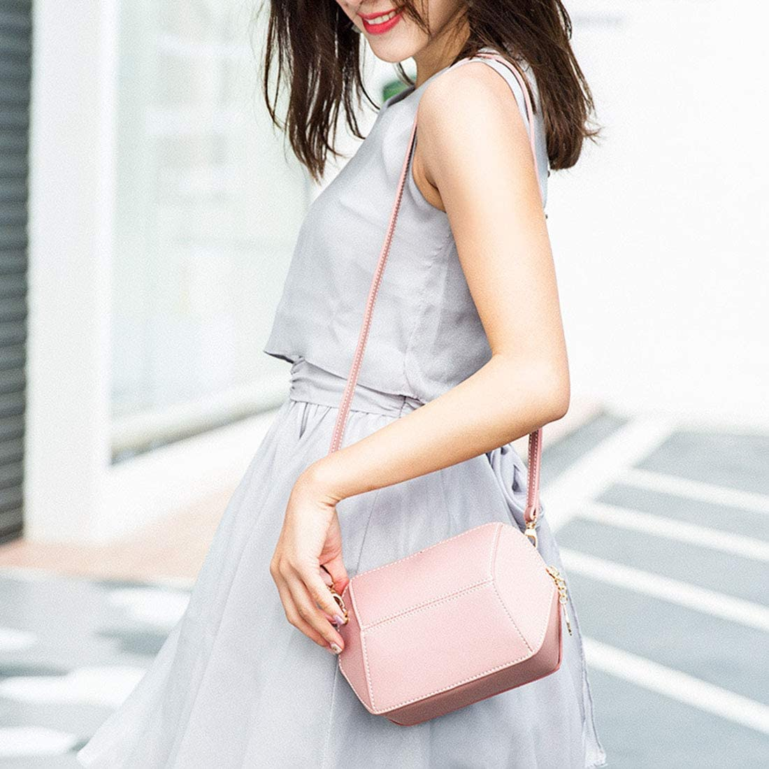 Pink Pro-BikeUS Simple Retro Zip Mini Geometric PU Shoulder Bag Messenger Bag Color : Pink