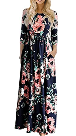bf4364b31ef Kinikiss Women's Floral Flower Print 3/4 Sleeve Round Neck Boho Spring Fall  Maxi Long Dress
