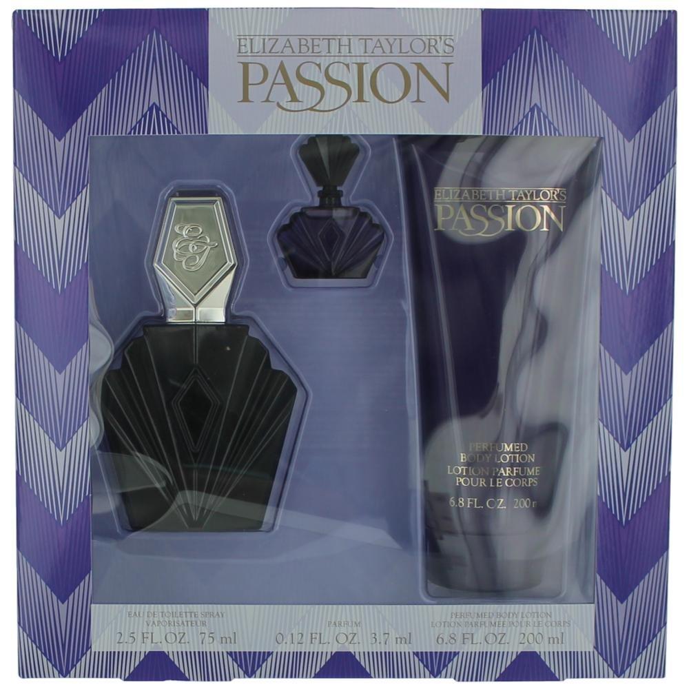 Passion By Elizabeth Taylor For Women, Set-edt Spray, 2.5-Ounce Bottle & Body Lotion 6.8-Ounce Bottle & Parfum .12-Ounce Bottle Mini