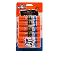 Elmer's Washable Disappearing Purple School Glue Sticks, 0.21 Oz, Pack of 6 + 2 Bonus Sticks