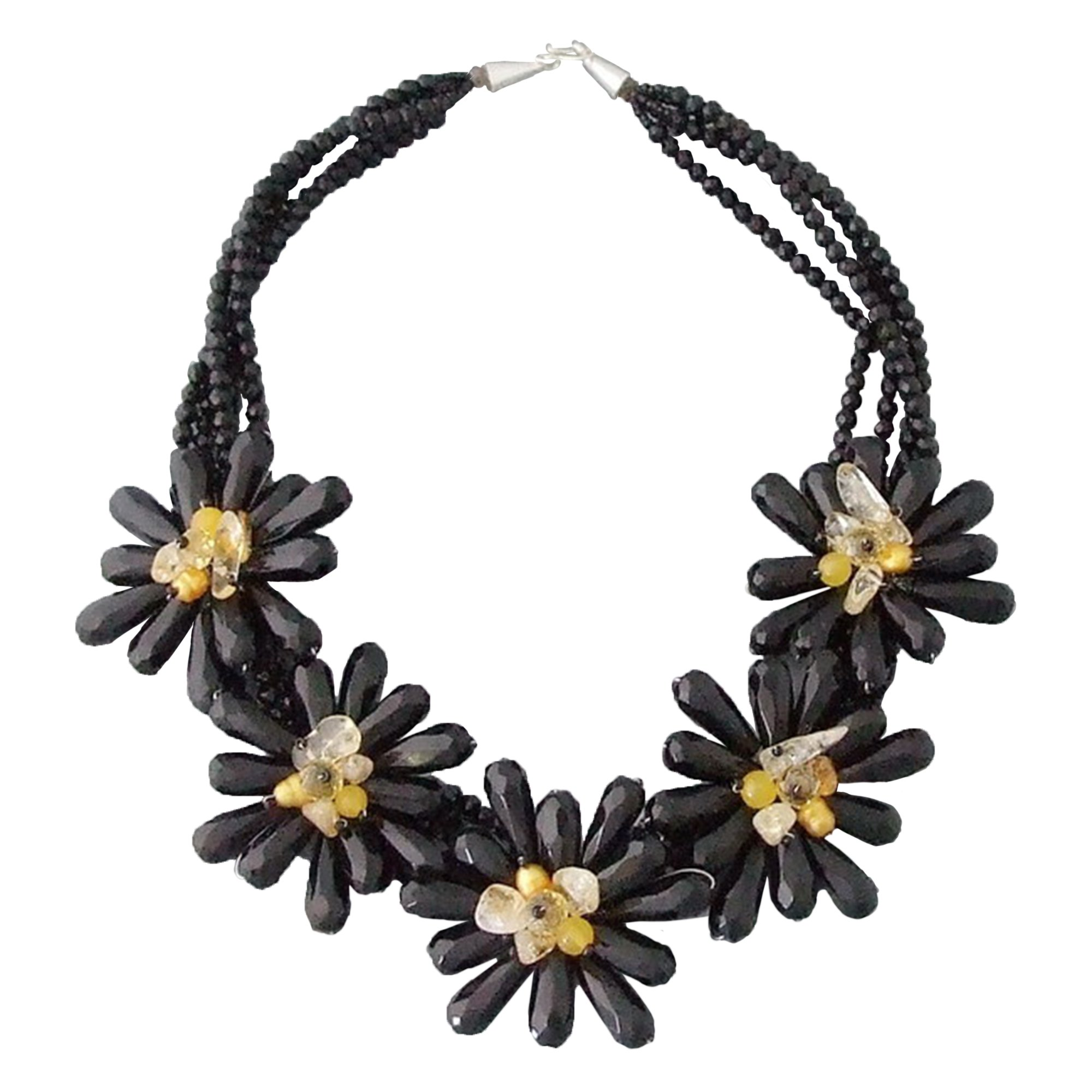 Simulated Black Onyx & Citrine & Cultured Freshwater Pearl Flower Collar Necklace