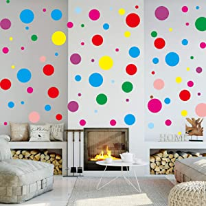 Polka Dot Wall Decals, Llamaababie Multi Size Colorful Dots Wall Sticker for Kids Baby Girls Teens Bedroom Home and Nursery Room, Easy to Peel and Stick & Safe Removable Adhesive (120 Circles)