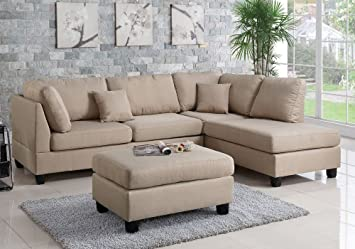 Modern Contemporary Polyfiber Fabric Sectional Sofa With Reversible Chaise  And Ottoman Set (Sand)