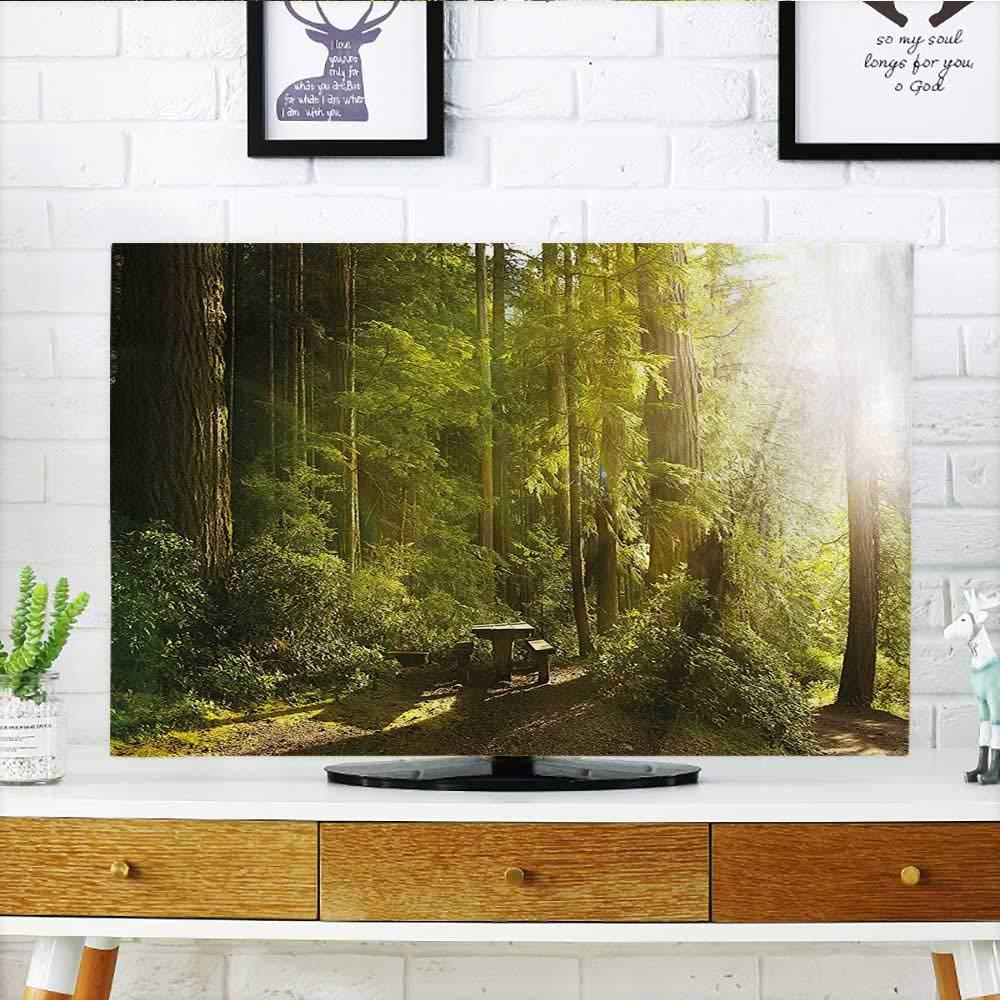 オリンピック国立公園ワシントン州ワシントン州ワシントン州にあるウッドベンチであなたのTVを熱帯雨林を保護 写真グリーン イエロー TV 幅19 x 高さ30 インチ/テレビ 32インチ W35 x H55 INCH/TV 60