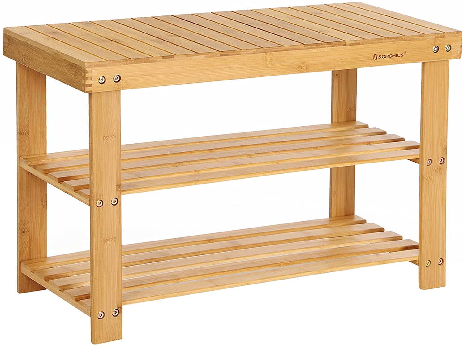SONGMICS Shoe Rack Bench 3-Tier Organizer S discount Storage outlet Bamboo