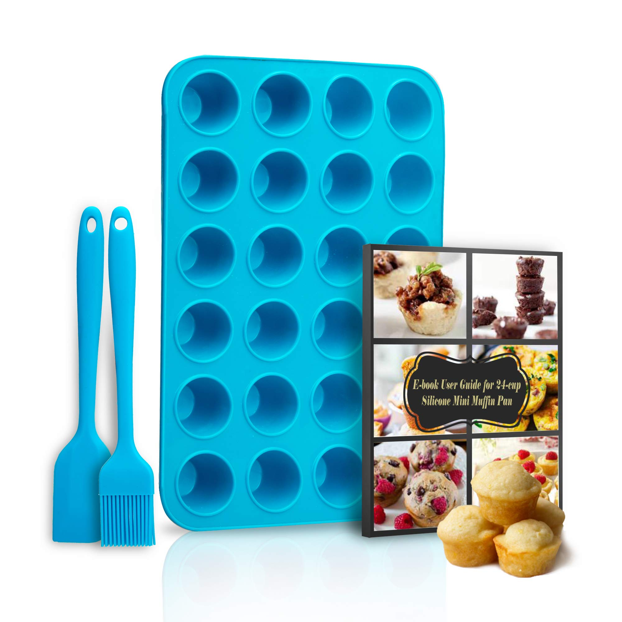 MRTONG 24 Mini Cups Silicone Muffin Pan and Cupcake Pan with Spatula and Oil Brush, 24-Cup Muffin Tray, Silicone Muffin Cupcake Baking Pan, Silicone Muffin Molds, Non-stick Baking Pan, Recipe Ebook by MRTONG