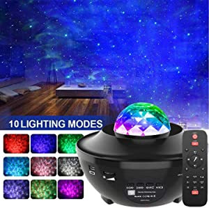 Night Light Star Projector,Amouhom Star Projector with Bluetooth Speaker, Adjustable Lightness & Remote Control &21 Lighting Modes,Gift for Kids Adults, Bedroom,Living Room(Black)