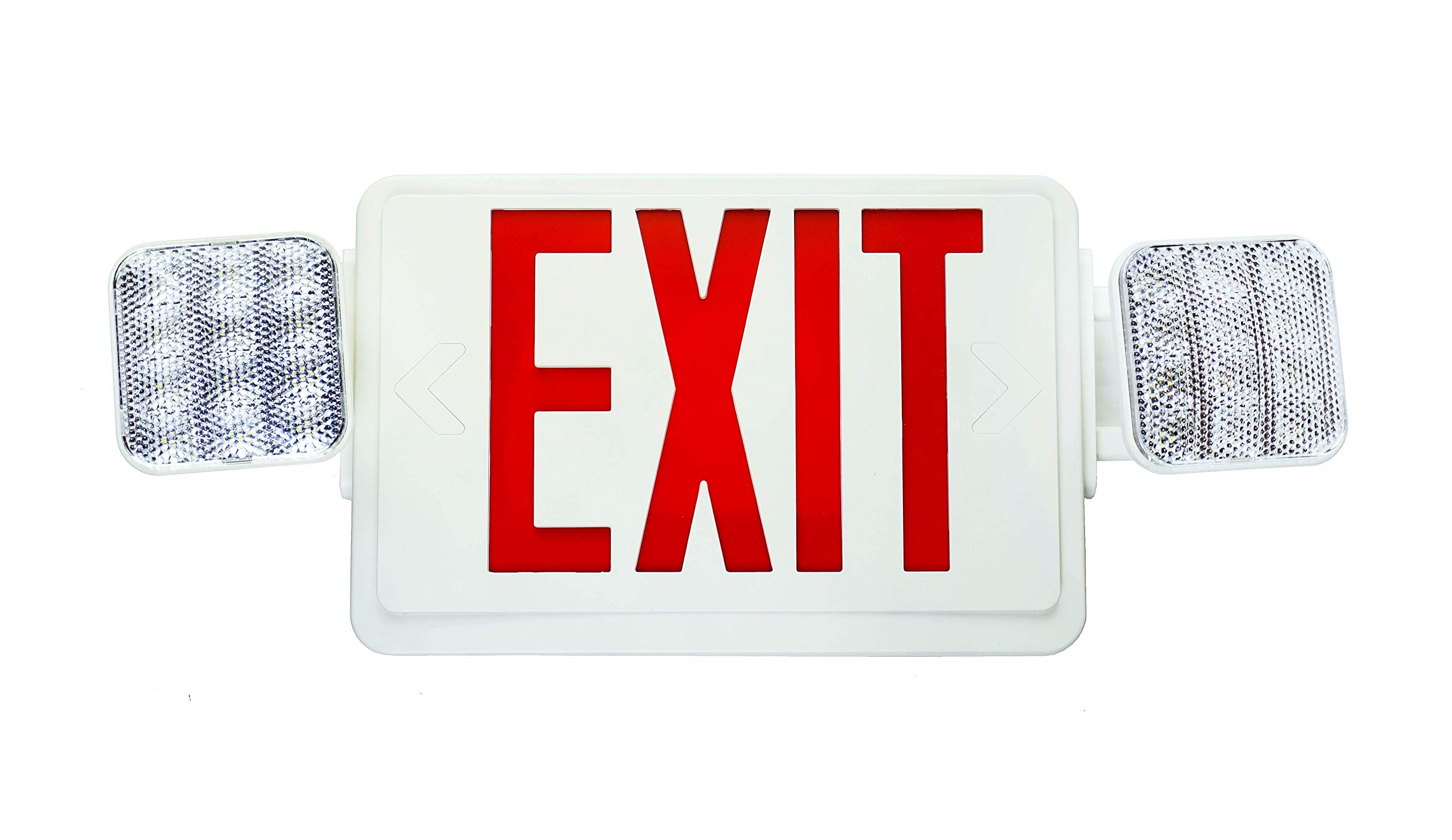 NICOR Lighting Remote Capable LED Emergency Exit Sign with Dual Adjustable LED Heads, White with Red Lettering (ECL1-10-UNV-WH-R2R)