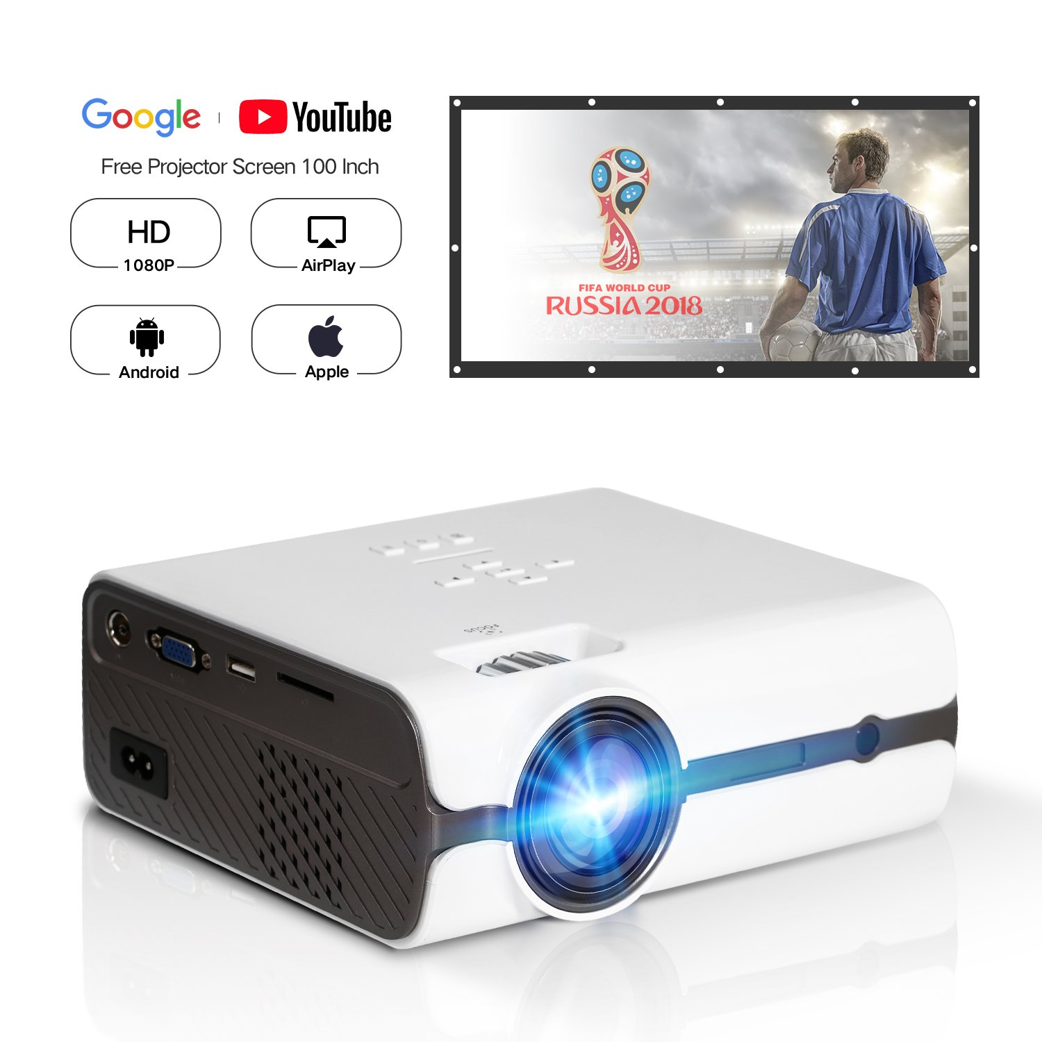 DOACE P3 Video Projector, HD 1080P, 2200 Lumens with Portable Screen 100' for Indoor Outdoor Use, Home Theater Projector Support USB SD Card VGA AV for Home Cinema TV Laptop Game Smartphone (White) VPJ