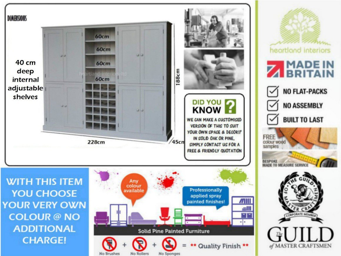 Professional flatpack assembly service professional crew of joiners -  Painted 7ft 6 Wide Kitchen Dining Pantry Or Larder Storage Cabinet With Wine Rack Wr76ku Any Paint Colour Available No Flat Packs No Assembly
